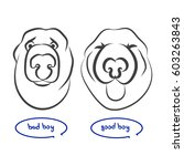 dog upset dog happy. the figure'... | Shutterstock .eps vector #603263843