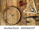 bicycle parts in a table... | Shutterstock . vector #603266237