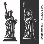 statue of liberty silhouette... | Shutterstock .eps vector #603271193