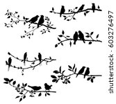vector set of birds at trees... | Shutterstock .eps vector #603276497