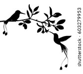 hummingbirds and flowers... | Shutterstock .eps vector #603279953