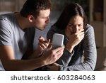 boyfriend asking for an... | Shutterstock . vector #603284063