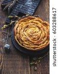 homemade apple pie on a wooden...   Shutterstock . vector #603288617