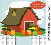 farm fresh vegetables  | Shutterstock .eps vector #603297167