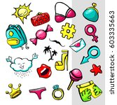 fashion stickers for summer | Shutterstock .eps vector #603335663