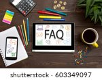tablet with web icon faq  on a... | Shutterstock . vector #603349097