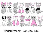 big vector collection with cute ... | Shutterstock .eps vector #603352433