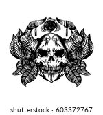 scull tattoo art with horns and ... | Shutterstock .eps vector #603372767
