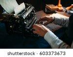 literature author in glasses...   Shutterstock . vector #603373673