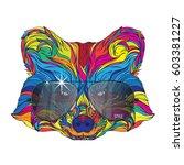vector face of raccoon in... | Shutterstock .eps vector #603381227