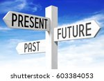 Small photo of Future, present, past - wooden signpost