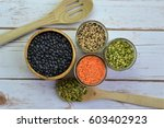 black beans  red lentils  green ... | Shutterstock . vector #603402923