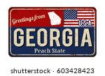 greetings from georgia vintage... | Shutterstock .eps vector #603428423