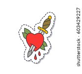 doodle icon  sticker. heart and ... | Shutterstock .eps vector #603429227