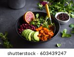 quinoa salad in bowl with... | Shutterstock . vector #603439247