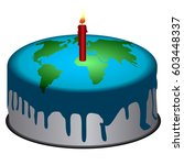 isolated cake with the earth...   Shutterstock .eps vector #603448337