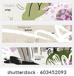 roughly drawn floral elements... | Shutterstock .eps vector #603452093