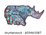 rhino with a baby  hand draw ... | Shutterstock .eps vector #603461087