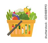 shopping basket with vegetables.... | Shutterstock .eps vector #603488993