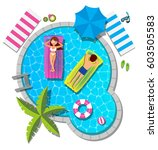 couple relaxing on inflatable...   Shutterstock .eps vector #603505583