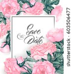 vintage save the date with... | Shutterstock .eps vector #603506477