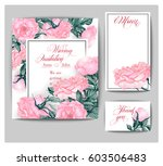 set of wedding invitations with ... | Shutterstock .eps vector #603506483