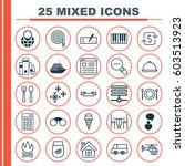 set of 25 universal editable... | Shutterstock .eps vector #603513923