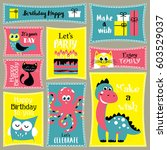 cute happy birthday stickers... | Shutterstock .eps vector #603529037