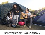 happy family on a camping trip  ... | Shutterstock . vector #603550577