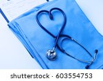 medical stethoscope twisted in... | Shutterstock . vector #603554753