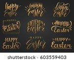 happy easter handwritten... | Shutterstock .eps vector #603559403