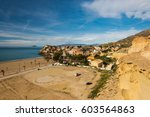 panoramic view over bolnuevo in ... | Shutterstock . vector #603564863