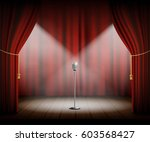 microphone stands on stage with ...