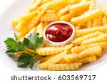 plate of french fries with... | Shutterstock . vector #603569717