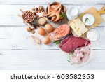 Stock photo assortment of healthy protein source and body building food 603582353