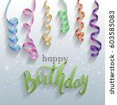 happy birthday gift card ...   Shutterstock .eps vector #603585083