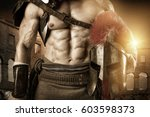 ancient warrior or gladiator... | Shutterstock . vector #603598373