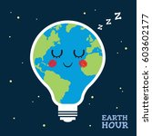 earth hour. sleeping or napping ... | Shutterstock .eps vector #603602177
