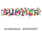 summer typography design with... | Shutterstock .eps vector #603610247