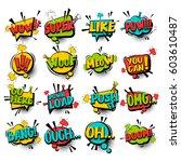 big set comic font bubble... | Shutterstock .eps vector #603610487