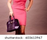 Stock photo fashion of women clothing and accessories mid aged blonde fashionable woman with handbag elegant 603613967