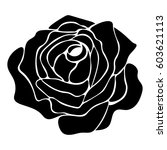 silhouette of a rose on a white ... | Shutterstock .eps vector #603621113