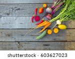 vegetables on a rustic wooden... | Shutterstock . vector #603627023