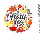 world health day concept. round ... | Shutterstock . vector #603630803