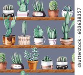 hand drawn various of cactus in ... | Shutterstock . vector #603638357