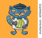 cartoon cat with a mustache... | Shutterstock .eps vector #603666923