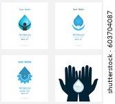 set of water drop icon vector...   Shutterstock .eps vector #603704087