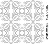 tribal seamless grey geometric... | Shutterstock . vector #603704387