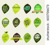 a set of eco logos. bio and eco ... | Shutterstock .eps vector #603706673
