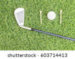 sport objects related to golf... | Shutterstock . vector #603714413